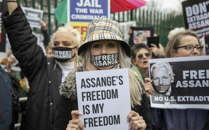 Small assange protest jack hill news syndication